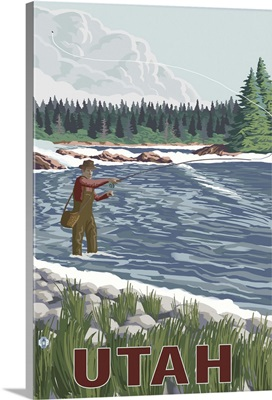 Fly Fishing Scene - Utah: Retro Travel Poster