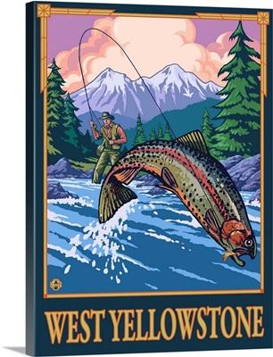 Fly Fishing Scene - West Yellowstone: Retro Travel Poster