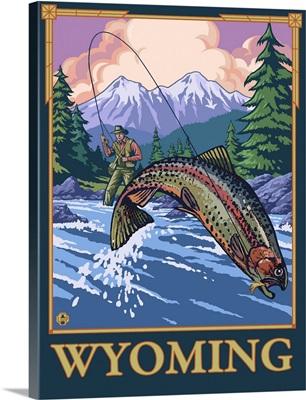 Fly Fishing Scene - Wyoming: Retro Travel Poster