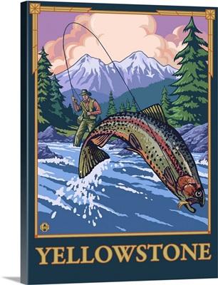 Fly Fishing Scene - Yellowstone National Park: Retro Travel Poster