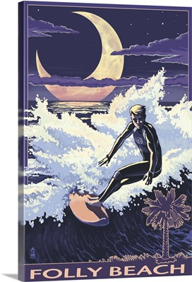 Folly Beach, SC - Surfer with Palmetto Moon: Retro Travel Poster