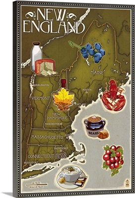 Foods of New England Map: Retro Travel Poster