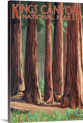 Forest Grove in Spring - Kings Canyon National Park, California: Retro Travel Poster