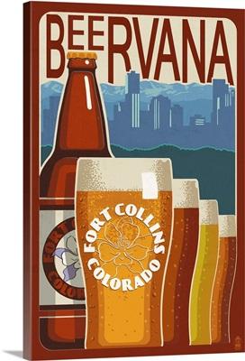 Fort Collins, Colorado - Beervana Vintage Sign: Retro Travel Poster
