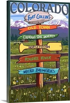 Fort Collins, Colorado - Sign Destinations: Retro Travel Poster
