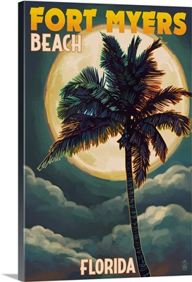 Fort Myers Beach, Florida - Palms and Moon: Retro Travel Poster