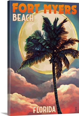 Fort Myers Beach, Florida - Palms and Moon Sunset: Retro Travel Poster