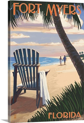 Fort Myers, Florida - Adirondack Chair on the Beach: Retro Travel Poster