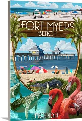 Fort Myers,  Florida - Montage Scenes: Retro Travel Poster