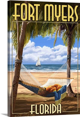 Fort Myers, Florida - Palms and Hammock: Retro Travel Poster