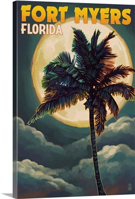 Fort Myers, Florida - Palms and Moon: Retro Travel Poster