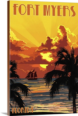 Fort Myers, Florida - Sunset and Ship: Retro Travel Poster