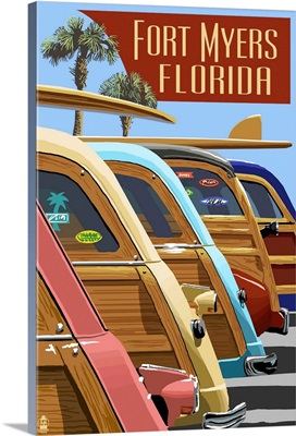 Fort Myers, Florida - Woodies Lined Up: Retro Travel Poster