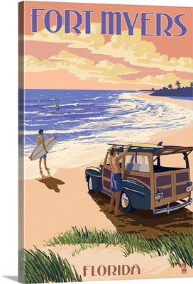 Fort Myers, Florida - Woody On The Beach: Retro Travel Poster