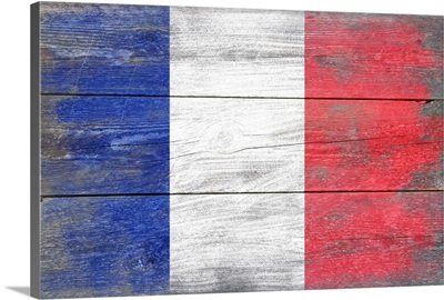 France Country Flag on Wood