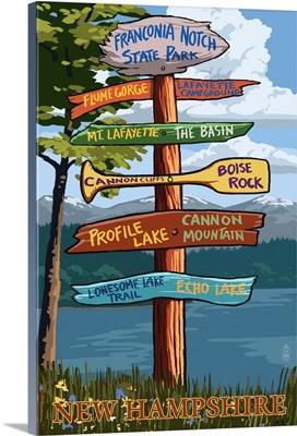 Franconia Notch, New Hampshire - Destination Sign: Retro Travel Poster
