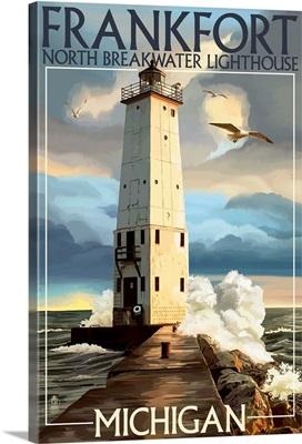 Frankfort Lighthouse, Michigan: Retro Travel Poster