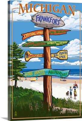 Frankfort, Michigan - Sign Destinations: Retro Travel Poster