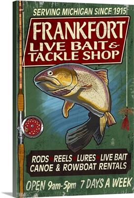 Frankfort, Michigan - Tackle Shop Trout Vintage Sign: Retro Travel Poster