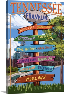 Franklin, Tennessee - Sign Destinations: Retro Travel Poster