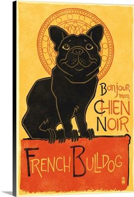 French Bulldog, Retro Chien Noir Ad