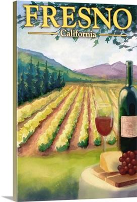 Fresno, California - Wine Country: Retro Travel Poster