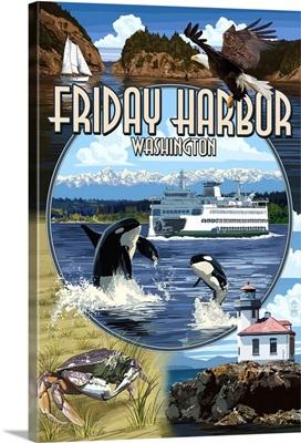 Friday Harbor, San Juan Island, WA - Scenes: Retro Travel Poster