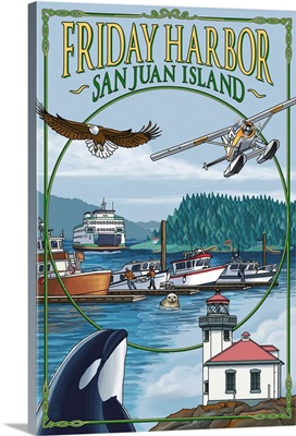 Friday Harbor, San Juan Island, WA Views: Retro Travel Poster