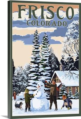 Frisco, Colorado - Snowman Scene: Retro Travel Poster