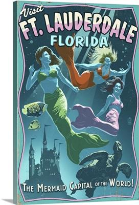 Ft. Lauderdale, Florida - Live Mermaids: Retro Travel Poster