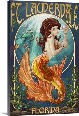 Ft. Lauderdale, Florida - Mermaid Scene: Retro Travel Poster