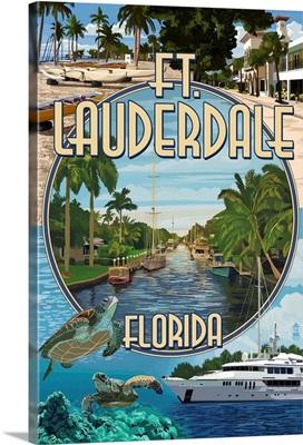 Ft. Lauderdale, Florida - Montage: Retro Travel Poster