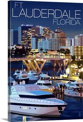 Ft. Lauderdale, Florida - Night Scene: Retro Travel Poster