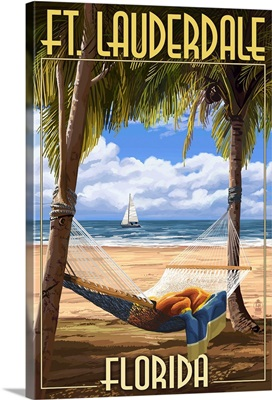 Ft. Lauderdale, Florida - Palms and Hammock: Retro Travel Poster