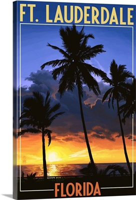 Ft. Lauderdale, Florida - Palms and Sunset: Retro Travel Poster