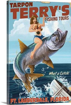 Ft. Lauderdale, Florida - Pinup Girl Tarpon Fishing: Retro Travel Poster