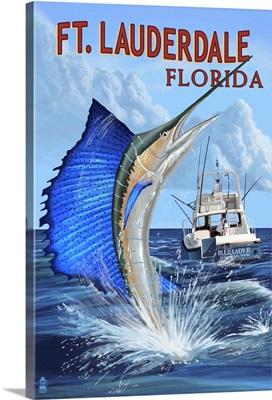 Ft. Lauderdale, Florida - Sailfish Scene: Retro Travel Poster