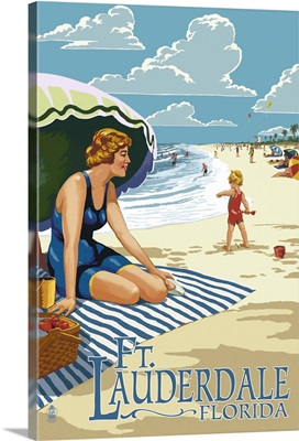 Ft. Lauderdale, Florida - Woman on the Beach: Retro Travel Poster