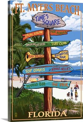 Ft. Myers Beach, Florida - Destination Signs: Retro Travel Poster