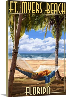 Ft. Myers Beach, Florida - Hammock: Retro Travel Poster