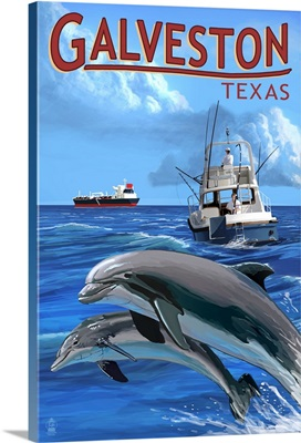 Galveston, Texas, Fishing Boat with Freighter and Dolphins