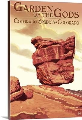 Garden of the Gods - Balanced Rock: Retro Travel Poster