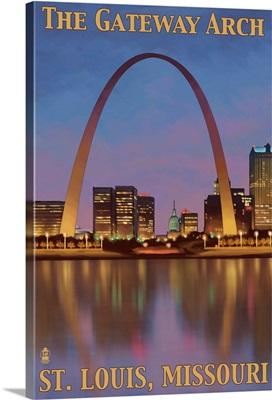 Gateway Arch - St. Louis, MO: Retro Travel Poster