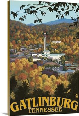 Gatlinburg, Tennessee Town Scene: Retro Travel Poster