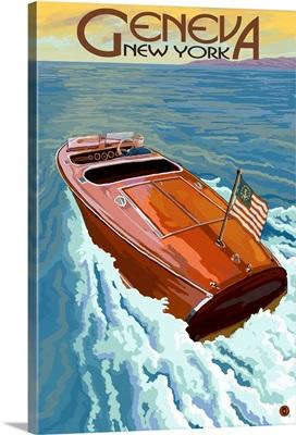 Geneva, New York - Wooden Boat on Lake: Retro Travel Poster