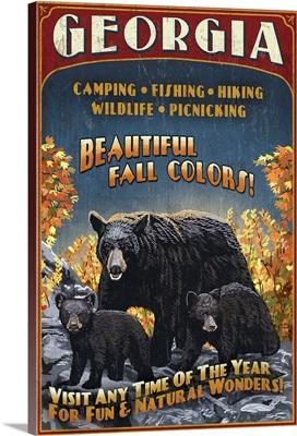 Georgia - Bear Family Vintage Sign: Retro Travel Poster