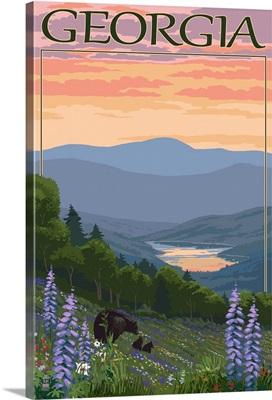Georgia - Bears and Spring Flowers: Retro Travel Poster