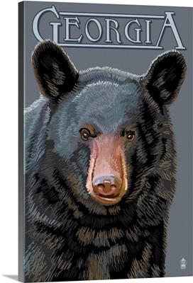 Georgia - Black Bear Up Close: Retro Travel Poster