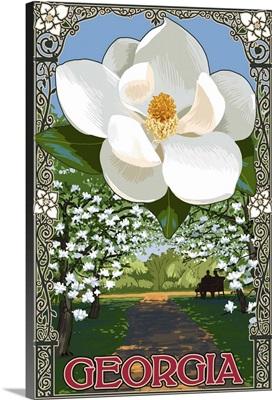 Georgia - Magnolia: Retro Travel Poster