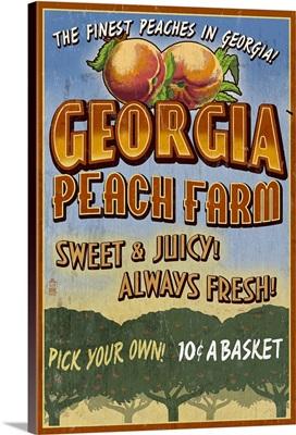 Georgia - Peach Farm Vintage Sign: Retro Travel Poster